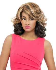 Foxy Lady Heat Fusion Full Wig - Jessie - High Temperature Fibers Blonde Mix
