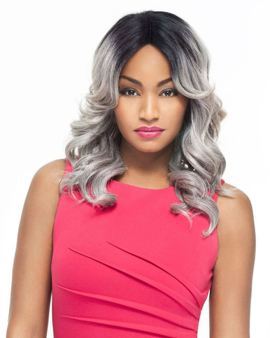 Foxy Lady Front Lace Fusion heat Synthetic Full Wig - Dylan Grey [As Shown]