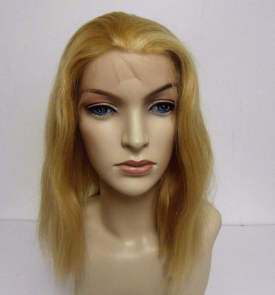 "Remi Human Hair Lace Front Wig Medium Cap, 12"" long, Color #18/22 Blonde Mix"