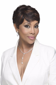 Vivica A Fox Human Hair Short Layered Cut Round Side Full Wig H302-V