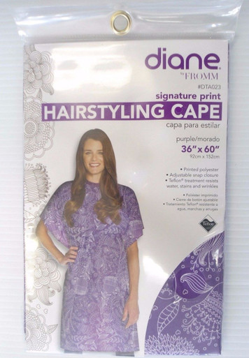 "Diane Print Hair Styling Cape Adjustable Snap Closure Purple 36"" x 60"" #dta023"