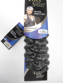 "10"" Salt n' Pepper Human Hair Blend Deep Wave Weave Track Grey Color 44"
