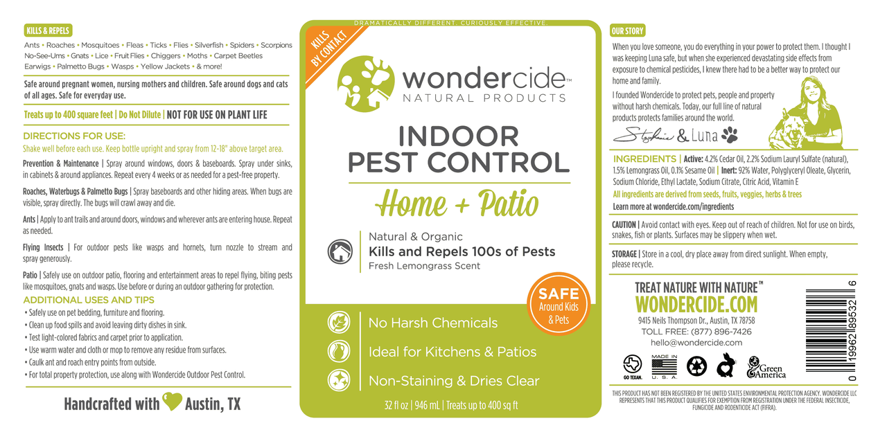 INDOOR | Natural Pest Control | 32oz Cedar + Lemongrass Label