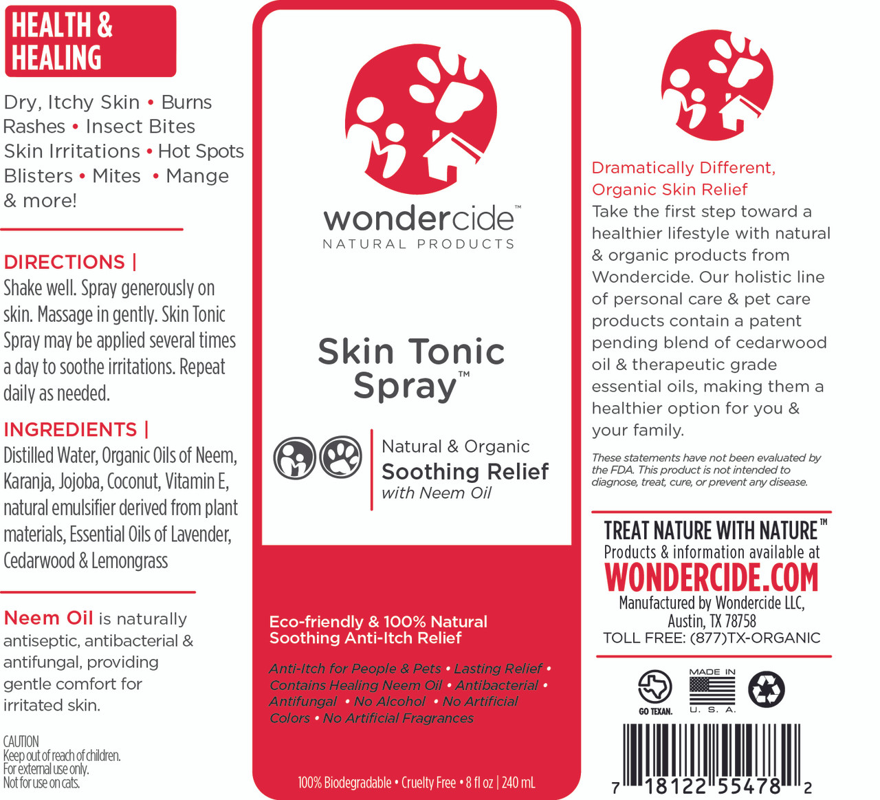Skin Tonic Spray | Full Body Anit-Itch Relief | Label