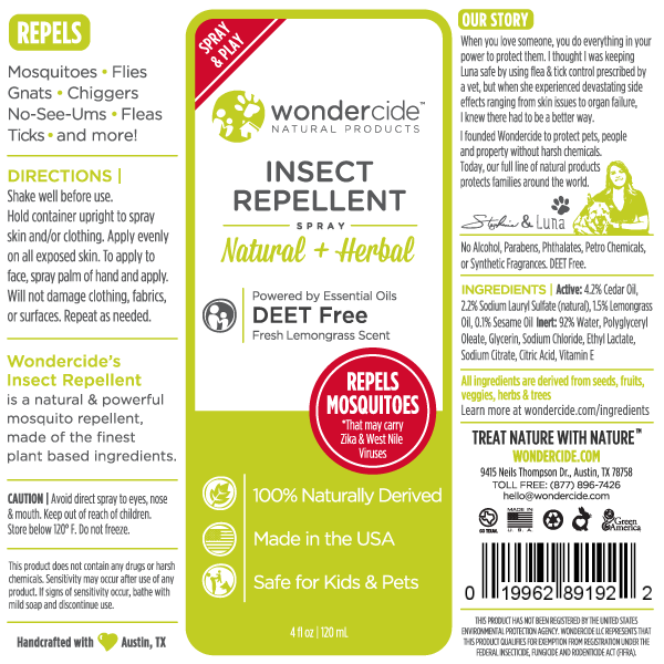 Natural Personal Insect Repellent | 4oz Lemongrass Label