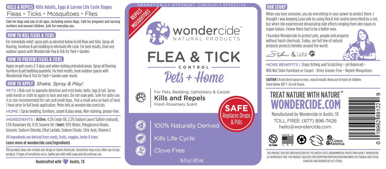 FLEA & TICK | Natural Flea, Tick & Mosquito Control | Cedar + Rosemary Label