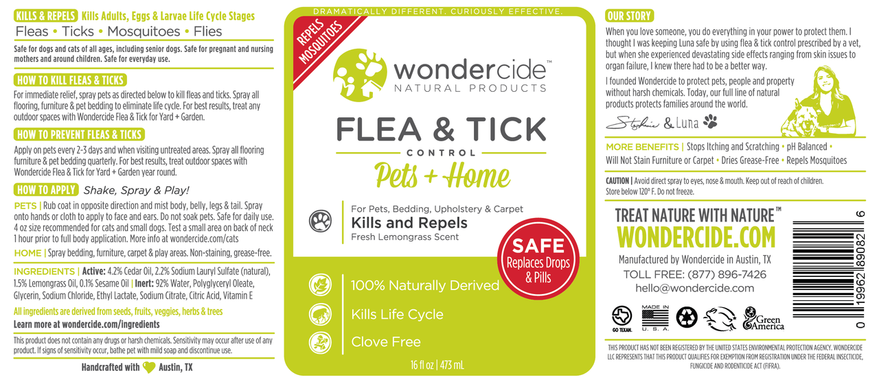 FLEA & TICK | Natural Flea, Tick & Mosquito Control | Cedar + Lemongrass Label