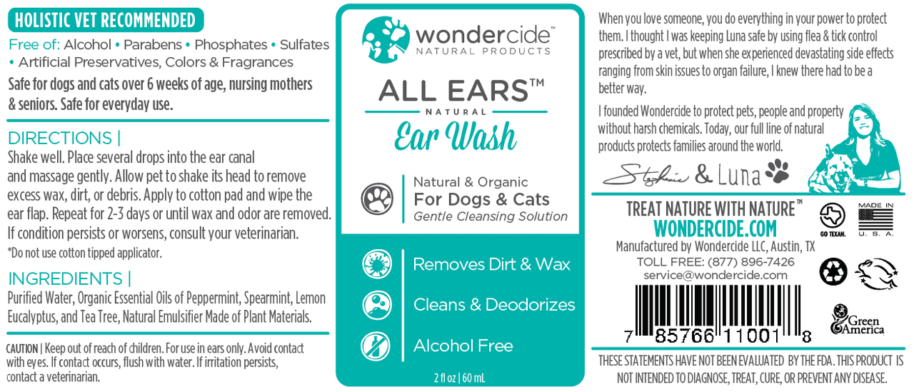 Natural Ear Wash for Dogs & Cats - Label