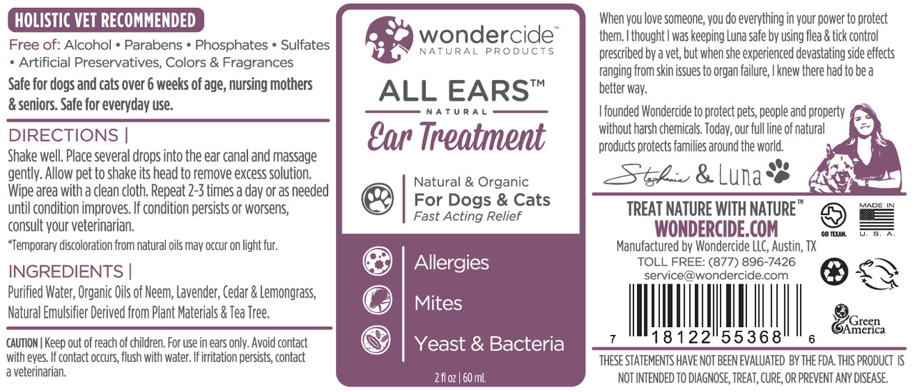 Natural Ear Treatment for Dogs & Cats - Label