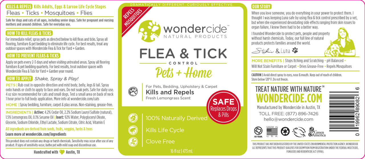 Natural Flea, Tick & Mosquito Control for Pets + Home | 16oz Cedar + Lemongrass Label