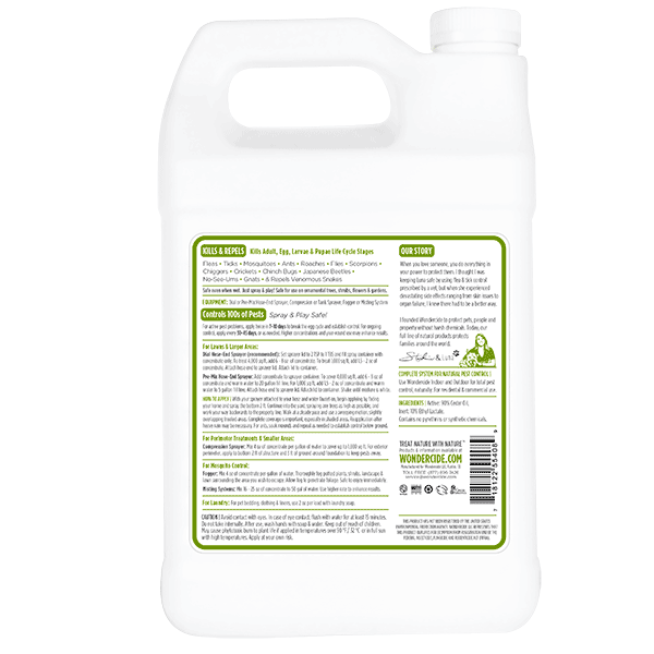 OUTDOOR | Natural Pest Control Concentrate | Kills & Repels 100s of Pests | Label 128 oz | Back