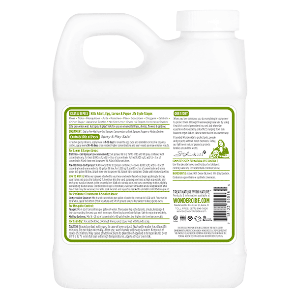 OUTDOOR | Natural Pest Control Concentrate | Kills & Repels 100s of Pests | Label 16 oz | Back