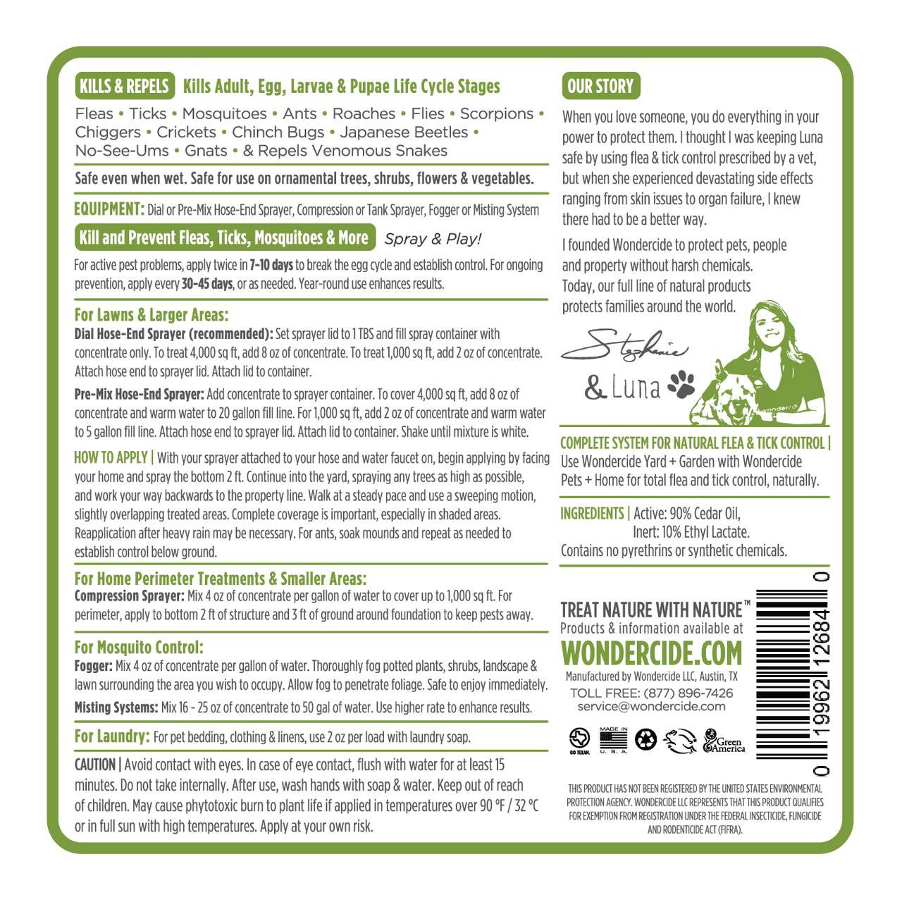 FULL TREATMENT KIT | Natural Outdoor Pest Control Label | Back