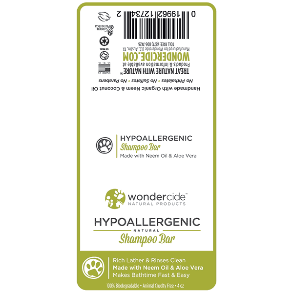 HYPOALLERGENIC | Natural Shampoo Bar for Dogs with Aloe – Label