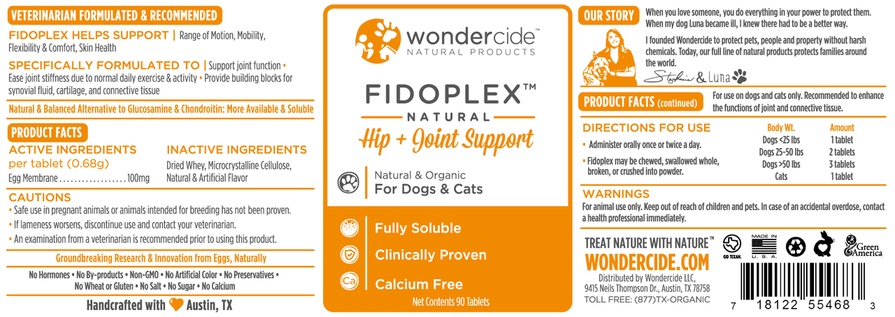 Fidoplex Hip & Joint Supplement – Label