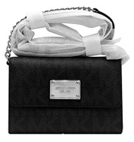 Michael Kors Jet Set Black Silver Chain Large Phone Crossbody PVC 32H4STTC3B NEW