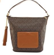 MICHAEL Michael Kors Elana Large Logo Shoulder Bag (Brown) 30T6GE3L3B-200