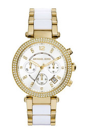 Michael Kors Watches Parker Chronograph Stainless Steel Watch (Gold/White)
