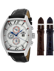 Invicta Men's 14329 Specialty Tonneau Watch with 3 Textured Leather Strap Set...