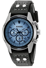 Fossil Men's CH2564 Leather Strap Glass Analog Dial Chronograph Watch, Blue F...