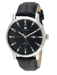 Tommy Hilfiger Men's 1710330 Stainless Steel and Black Leather Watch