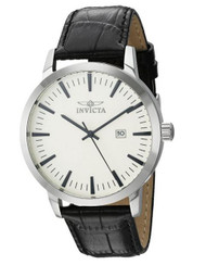 Invicta Men's 'Specialty' Quartz Stainless Steel and Leather Casual Watch, Color:Black (Model: 22314)