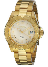 Invicta Women's Angel 18K Gold Plated Steel Champagne Dial 16849