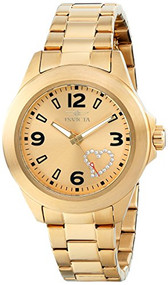 Invicta Women's 17933 Angel Gold-Tone Watch with White Crystal Heart on Dial