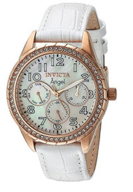 Invicta Angel Ladies White Mop Dial Quartz Multifunction White Leather Watch