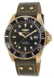 Invicta Men's 'Pro Diver' Quartz Stainless Steel and Leather Automatic Watch, Color:Green (Model: 22075)
