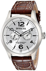 Invicta Men's 0765 II Collection Silver Dial Brown Leather Watch [Watch] Invicta