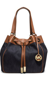 Michael Kors Marina Large Drawstring Tote Cotton canvas Dark Denim/Gold  30H5GMAT3C-470