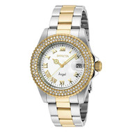 Invicta Women's Angel Gold-Tone Steel Bracelet & Case Swiss Quartz White Dial Analog Watch 20503