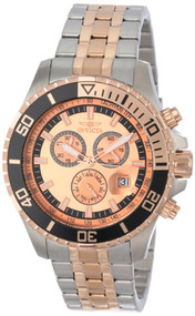 Invicta Men's 13651 Pro Diver Chronograph Rose Gold Tone Dial Two Tone Stainl...