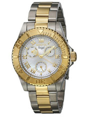 Invicta Women's Angel Gold-Tone Steel Bracelet & Case Quartz Silver-Tone Dial Analog Watch 17526