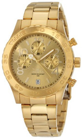 Invicta Men's 1279 II Collection Chronograph Gold Dial 18k Gold Ion-Plated St...