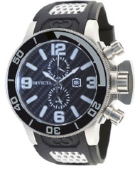 Invicta 80204 Men's Corduba Black Carbon Fiber Dial Black Rubber Strap GMT Di...