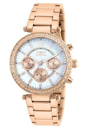 Invicta Women's Quartz Watch with Silver Dial Chronograph Display and Silver Stainless Steel Bracelet