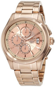 Invicta Men's 1485 Specialty Collection Chronograph Rose Dial 18k Rose Gold I...