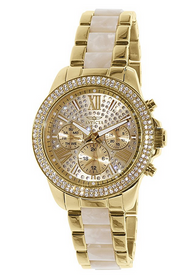 Invicta 20511 Women's Angel Crystal Accented Gold Tone Dial Steel & Acetate Bracelet Watch