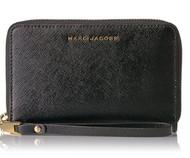 Marc Jacobs Saffiano Bicolor Zip Phone Wristlet, Black/Mink M0010218-965