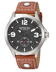 Invicta Men's 'Aviator' Quartz Stainless Steel and Leather Casual Watch, Color:Brown (Model: 22528)