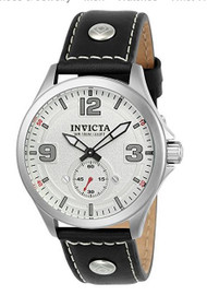 Invicta Men's 'Aviator' Quartz Stainless Steel and Leather Casual Watch, Color:Black (Model: 22527) …