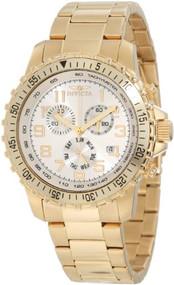 Invicta Men's 11369 Specialty Pilot Design Chronograph Silver Dial 18k Gold I...