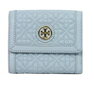 Tory Burch Bryant Leather Mini Wallet (Iceberg)