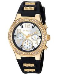 Invicta Women's 'BLU' Quartz Gold-Tone and Silicone Casual Watch, Color:Black (Model: 24198) …