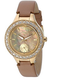 Invicta Women's 'Wildflower' Quartz Stainless Steel and Leather Casual Watch, Color:Beige (Model: 24556)