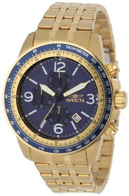 Invicta Men's 13966 Specialty Chronograph Blue Dial 18k Gold Ion-Plated Stain...