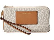Michael Kors Bedford Lg Dbzp Wrstlt Vanilla/Acorn Wristlet Handbags 32F6GBFW8B-149