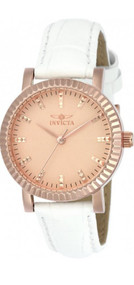 Invicta Women's Angel White Leather Band Steel Case Quartz Rose Gold-Tone Dial Analog Watch 22484 …